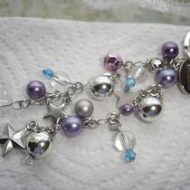 Givenchy Silver Tone Star Purple Blue Beads Chain Bag Charm Key Ring Photo