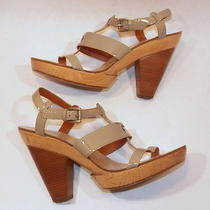Givenchy Solid Wood Platform Sandals Taupe Patent Upper Sz 39 8.5 Photo