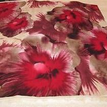 Givenchy Square Floral Scarf Rayon & Silk Reds Rose Black Beige Italy Photo