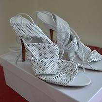 Givenchy Super Sexy White Perforated Leather & Strappy High Heels 40 10 Photo