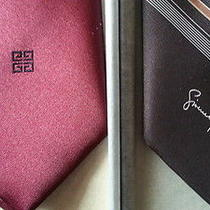 Givenchy Tie Set Brown Burgundy Set of Two New in Box New Old Stock Nos Photo