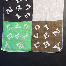 Givenchy Vintage Handkerchief W 4 Colored Squares Spelling Designer's Name  Photo