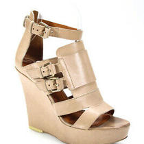 Givenchy Womens Leather Open Toe Ankle Strap Wedge Heels Beige Size 6.5 36.5 Photo