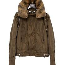 Givenchy Womens Removable Fur Collar Runway Green Bomber Jacket Zip Arms Fr 42 Photo