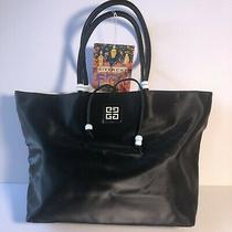 Givency Parfumes Solid Black Pvc Bag Tote Handbag Photo