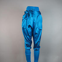 Gizia Aqua Harem Baggy Silk Pants Sz 8/10 Photo
