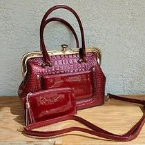 Glam Red Croc-Embossed Patent Tote & Pouch Rhinestone Sparkle Brand New Photo