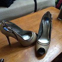 Glamorous Guess Black and Biege High Heel Open Shoes Lacquer 75 Photo