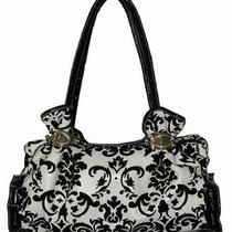Glamorous White Synthetic Leather Handbag With Black Velvet Damask Design Photo