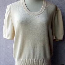 Glamorously Vogue St. John Basics Knit Scoop Neck Vanilla Top Blouse M Photo