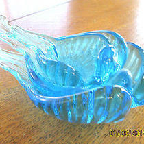 Glass Spoon Holders Blue in Shape of Birds Found in Estate Set of 3  Photo