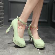 Glitter Patent Mary Janes Womens Block Heels Round Toe Wedding Shoes Plus Size Photo