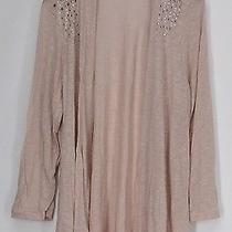 Glitterscape Plus Size Sweater 2x Long Sleeve Open Front Embellished Blush Pink Photo