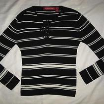 Gloria Vanderbilt Black & White Striped Nautical Corset Tie Top S Photo