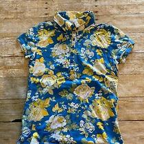 Gloria Vanderbilt Misses S Blue Yellow Floral Partial Button Cap Sleeve Shirt Photo