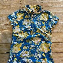 Gloria Vanderbilt Misses S Blue Yellow Floral Partial Button Cap Sleeve Shirt Photo