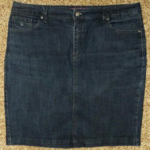 Gloria Vanderbilt Womens Blue Jean Denim Skirt Sz 14 7010 Photo