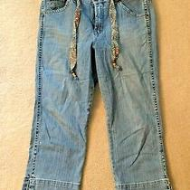 Gloria Vanderbilt Womens Size 14 Denim Blue Jean Capris With Beaded Belt Vintage Photo