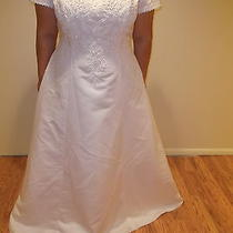 Gloria Vanderbilt Womens Size 22 White Long Train Wedding Dress Gown Beautiful Photo