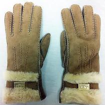 Gloves Ugg Australia Leather Suede Shearling Sheepskin Tan Logo Goldtone Plate Photo