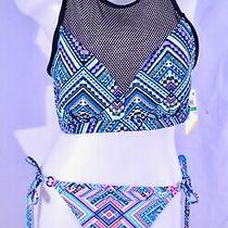 Go Gossip Solar Geometric Print Mesh High Neck Bikini Top Matching Bottom Size L Photo