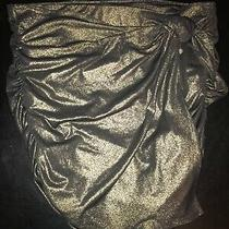 Gold and Black Metallic Glitter Express Tie Front Ruched Skirt Size L Photo