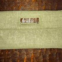 Gold and Tan Gap Clutch Brown Lining Snap Closure Very Good Condition Photo