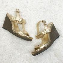 Gold Braided Wedge Heel Lauren Ralph Lauren Shoes 6.5  Photo