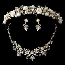 Gold Champagne Pearl Swarovski Crystal Bead and Rhinestone Ceramic Flower Tiara Photo
