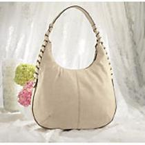 Gold Embellished Beige Shoulder Bag Hobo Purse Photo