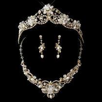 Gold Freshwater Pearl Swarovski Crystals Bead Bridal Necklace Earring Tiara Set  Photo