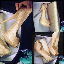 Gold Glitter Heels Size 7 (Comes With  Gold Clutch) Worn Once Photo