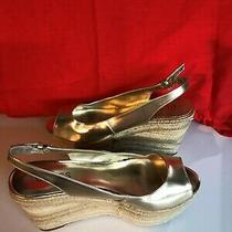 Gold Guess Wedge Espadrille Sandles - Size 7 1/2 Photo