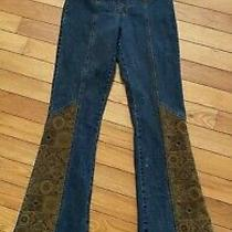 Gold Hawk Women Fabric Patch Bell Bottoms/ Size 8/ Pre-Owned Photo