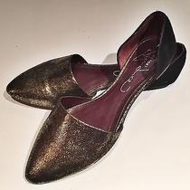 Gold Leather d'orsay Flats Photo