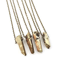 Gold Luxe Crystal Bullet Stone Necklace-Vintage Boho Jewellery-Healing Quartz Photo