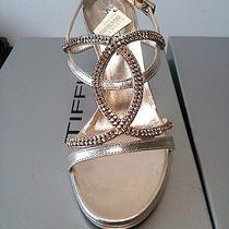 Gold Made in Italy Swarovski  Leather High Heel Sandals  Photo