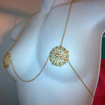 Gold Metal Pasties Chain Bikini Burlesque Slave Fantasy Cosplay Dancer Jewelry Photo