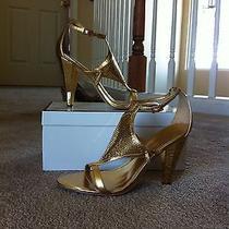 Gold Metallic Heels Photo