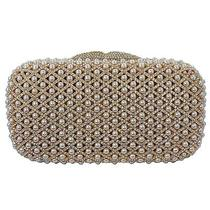 Gold Plated Clutch With Pearls and Swarovski Element Crystals Photo