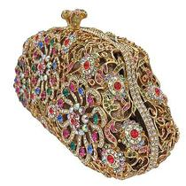 Gold Plated Floral Clutch With Swarovski Element Crystals Photo