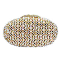 Gold Plated Pearl Clutch With Swarovski Element Crystals Photo