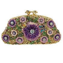 Gold Plated Purple Floral Clutch With Swarovski Crystals Photo