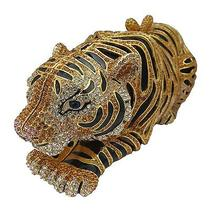 Gold Plated Tiger Clutch With Swarovski Element Crystals Photo