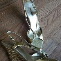 Gold Prada Size 38.5 Open Toe Italy Slingback Platform Wedge Sandals Heels Shoes Photo