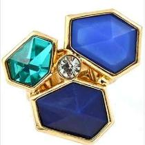Gold Rhinestone Blue Teal Aqua Turquoise Fashion Ring Stretchy Adjustable  Photo