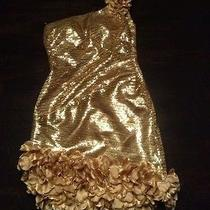 Gold Sequin Prom Dress by Blush Prom Black Collection Sz. 6 Photo