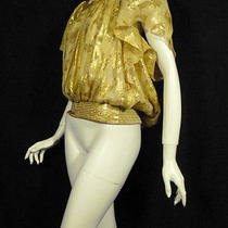 Gold Shimmer Scattering Floral Bebe Top Sz M & Free Gift Photo