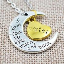 Gold Silver Family I Love You to the Moon Back Necklace Charm Statement Pendant Photo