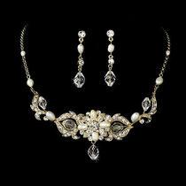 Gold Swarovski Crystal & Freshwater Pearl Bridal Necklace & Earring Jewelry Set Photo